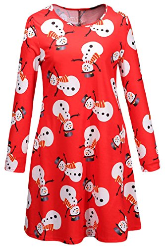 LaSuiveur Women's Christmas Santa Claus Print Pullover Flared Dress -