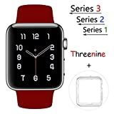 Threenine for Apple Watch Band, Durable Soft Silicone iWatch Strap Replacement Sport Band for Apple Watch Band Series 3 Series 2 Series 1 Sport, Edition (Rose wine red, 42mm S/M)