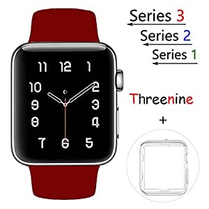 Threenine for Apple Watch Band, Durable Soft Silicone iWatch Strap Replacement Sport Band for Apple Watch Band Series 3 Series 2 Series 1 Sport, Edition (Rose wine red, 42mm M/L)