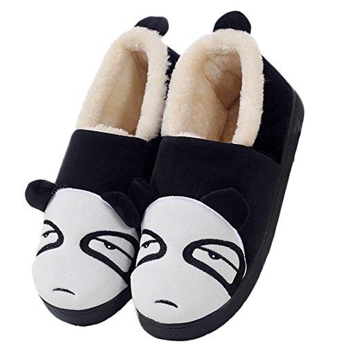 Ciabatta Da Donna Carina Panda Casa Calda Pantofole Antiscivolo Fodera In Pelliccia 1.black