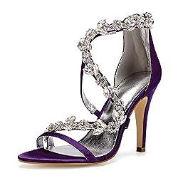 Open Toe Zipper Back Strap High Heel Purple Sandals