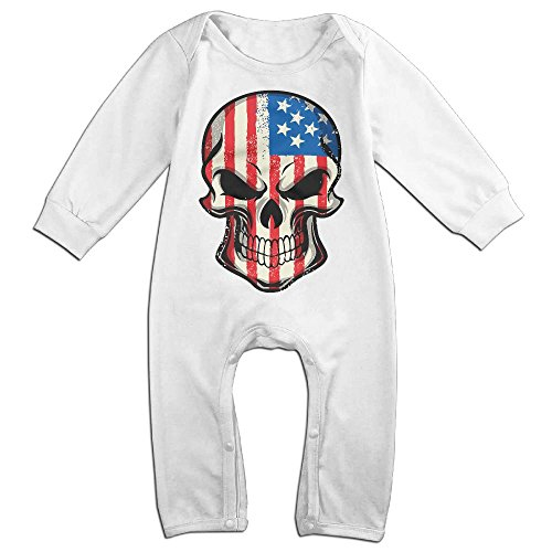 Mrei-leo Newborn Kids Long Sleeved Coveralls Skull American Flag Kid Pajamas