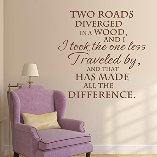 I Took The Road Less Traveled By And That Has Made All The Difference - Robert Frost Inspirational Motivational Wall Decal Quote Vinyl Sticker Art Lettering Decor Saying Decoration (Black, Large)