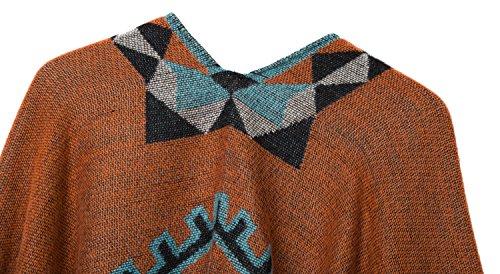 Urban CoCo Women's Printed Tassel Open front Poncho Cape Cardigan Wrap Shawl (Orange-series 5) by Urban CoCo (Image #3)