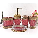 HONGS Vintage Classic Luxury Bathroom Bath 5Pcs Set 3D Decor Accessories Collection Set for Hotel & Home ,Red