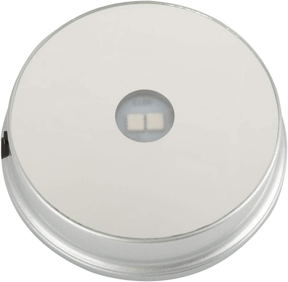 Hilitand 4 Tipos de Base de Soporte de exhibición de Cristal Giratorio de luz LED de Colores para decoración del hogar (Las baterías no están Incluidas)(Espejo Redondo, 2 Leds, batería.)