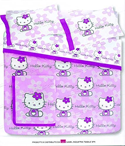 Copriletto Hello Kitty Gabel.Hello Kitty Copriletto Trapuntato Matrimoniale Flowers Lilla