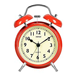 Hense 4.5 Twin Bell Analog Alarm Clock Non Ticking Silent Sweeping Movement with Night Light Extra Loud Alarm Great for Travel and Kids Battery Operated Easy To Use HM39-005 red