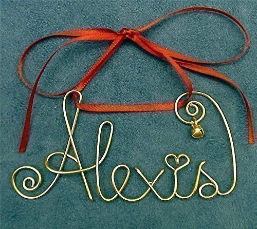 Personalized Gold or Silver Wire Name Christmas, Holiday Ornament, Gift~Any Name~2, 3, 4 Names possible~with Year, Date 2018 option~Festive Keepsake Gift Bag~The Original (Name Ornament)