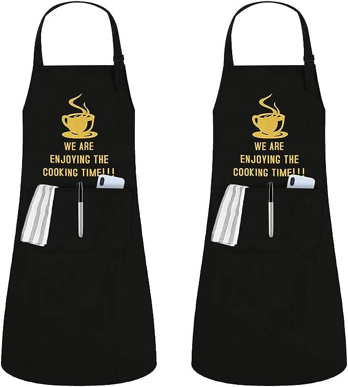 JSDing Delantal Cocina Mujer Hombre (2 Piezas) Impermeables Cocina Delantale con Bolsillo Ajustables Delantal de Cocina para Chef Carniceros Barbacoa ...