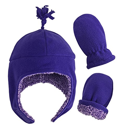 N'Ice Caps Little Girls and Baby Soft Sherpa Lined Micro Fleece Pilot Hat and Mitten Set (Dark Purple Infant 1, 6-18 Months)