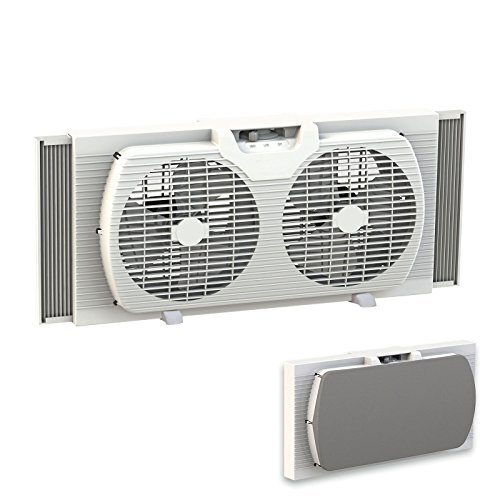 Premium Twin Blade - Dual Blade 9-Inch Twin Window Fan with Cover Portable, White
