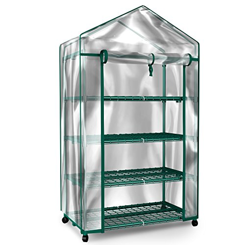 Plant Greenhouse on Wheels with Clear Cover – 4 Tiers Rack Stands- Indoor Outdoor Portable Solution Kit for Home – Herb and Flower Garden Green House