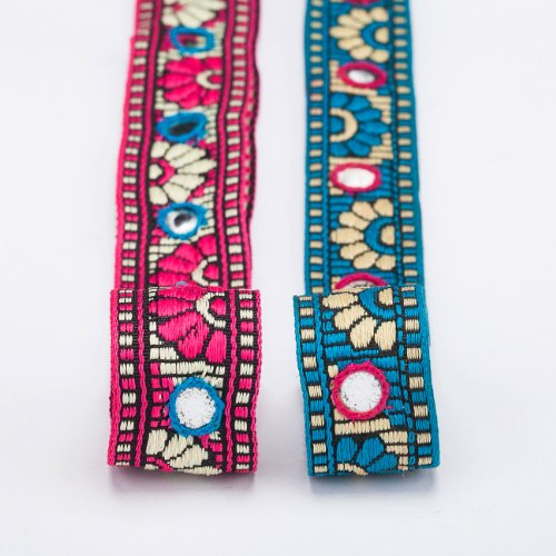 (Neotrims Trimming Indian Mirror Work Sequin Ribbon by the Yard, Wholesale Online, Great Price for Hand embroidery embellished Gujarat Style Folk Ribbon of India for Sari, Salwar Kameez or Crafts and Apparel.)