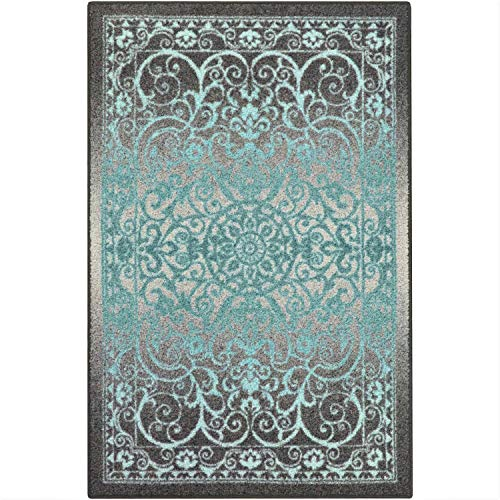 Maples Rugs Pelham Vintage Area Rugs for Living Room & Bedroom [Made in USA], 5 x 7, Grey/Blue