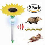 X-CHENG-Animal Repellent Outdoor-Waterproof Solar Control Pest with Flashing LED light-Safety Ultrasonic Solar pest repeller-Effective Sonic pest repeller drive Away Rat,mice,mole-2Pack[NEW VERSION]