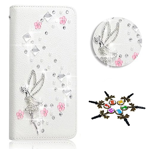 (STENES Galaxy S7 Active Case - 3D Handmade Crystal Fairy Girl Rose Flower Sparkle Wallet Credit Card Slots Fold Media Stand Leather Cover For Samsung Galaxy S7 Active - Pink)