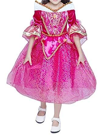 Quesera Girl's Aurora Dress Costume Princess Sleeping Beauty Birthday Party Dress, Rosered, 130cm=51.18inches