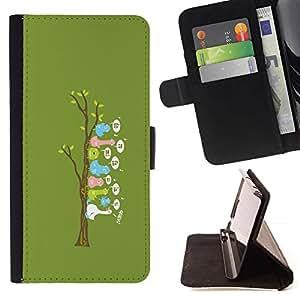 Momo Phone Case / Flip Funda de Cuero Case Cover - Cute Funny Bird Tree - Samsung Galaxy E5 E500