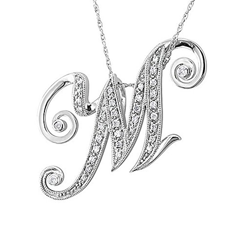 Diamond Initial Pendant Necklace (IGI Certified 14k White Gold Alphabet Initial M Diamond Pendant Necklace (1/5 Carat))