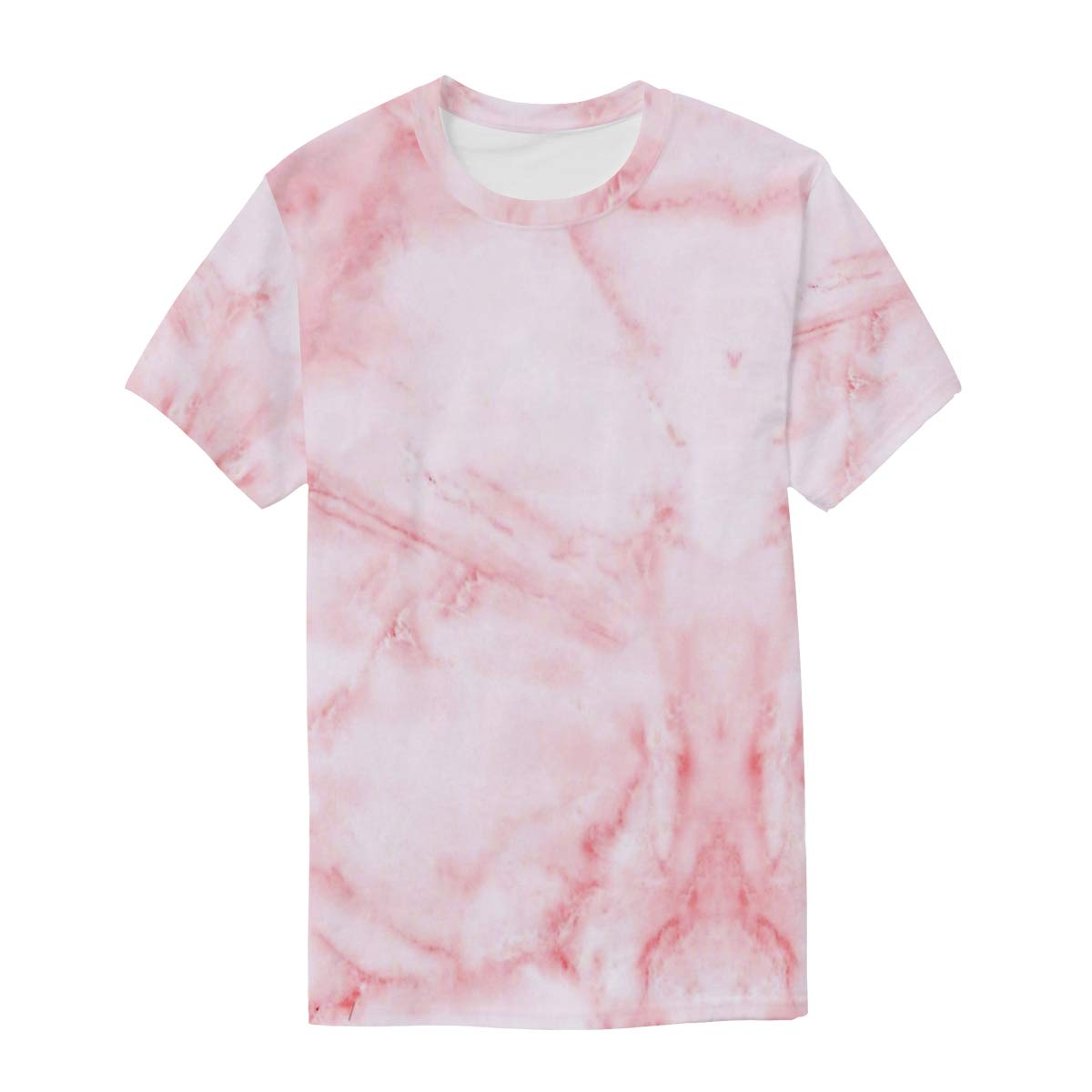 Rock Pink Marble Mens T Shirts Graphic Funny Body Print Short T-Shirt Unisex Pullover Blouse