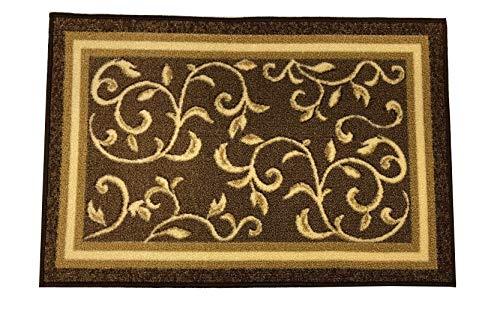 Stair Treads Non-Slip Landing Mat - Skid Resistant Rubber Back Landing Rug - Beautiful Design Landing Mat for Bottom of Stairs - Floormat - Doormat (20 x 30) Brown Floral