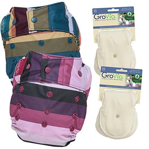GroVia Experience Package: 2 Shells + 4 Organic Cotton Soaker Pads (Sugar Rush + Jewel ()