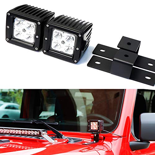iJDMTOY A-Pillar LED Pod Light Kit For 2018-up Jeep Wrangler JL, Includes (2) 20W High Power CREE LED Cubes, Windshield A-Pillar Mounting Brackets & On/Off Switch Wiring Kit - High Windshield Kit