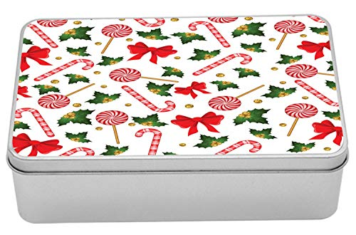 Ambesonne Candy Cane Tin Box, Holly Berry Mistletoe Traditional Red and White Patterned Sugary Food on Sticks, Portable Rectangle Metal Organizer Storage Box with Lid, 7.2