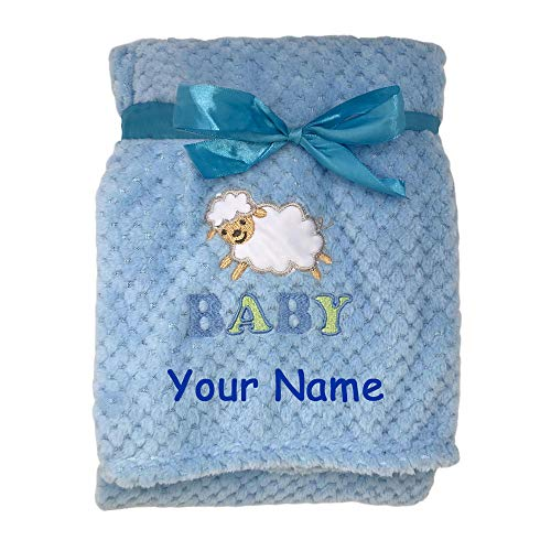 Zak & Zoey Personalized Baby Lamb Animal Plush Blanket for Baby Boy with Custom Name - 40 - Lamb Baby Personalized