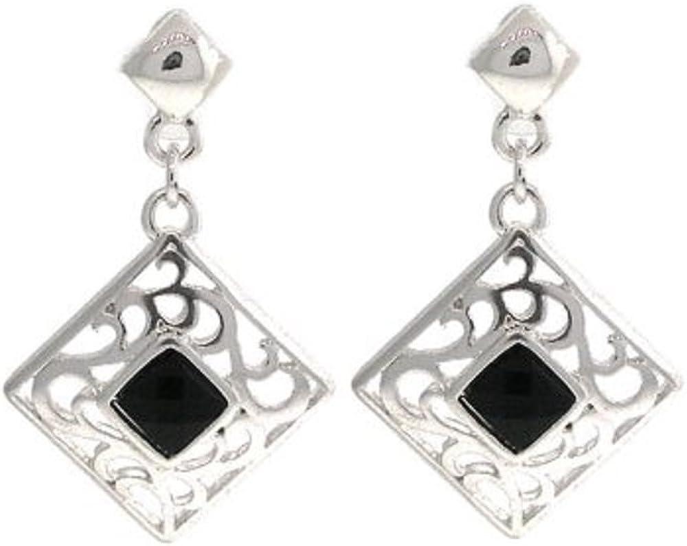 Silver Diamond Shaped Crystal Dangle Earrings