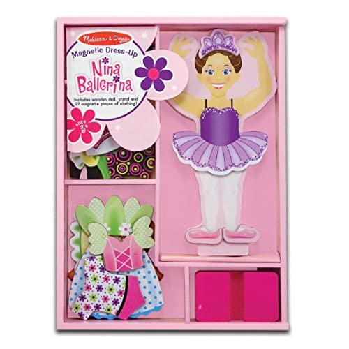 Melissa Doug Deluxe Nina Ballerina Magnetic Dress Up Wooden Doll With 27 Pieces Of Clothing