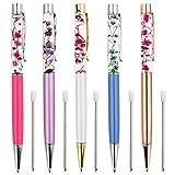 Ballpoint Pens,5PCS Metal Ball Pens Office Supplies,Rose Red/Blue/ Purple/White/Rose Gold Pens Dynamic Liquid Flower Pen Black for Desk Accessories