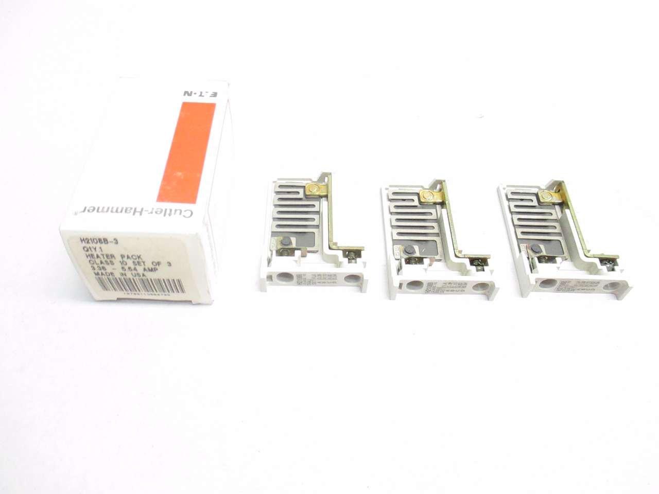 NEW CUTLER HAMMER H2108B-3 SET OF 3 3OVERLOAD HEATER ELEMENTS 3.38-5.54A D499367
