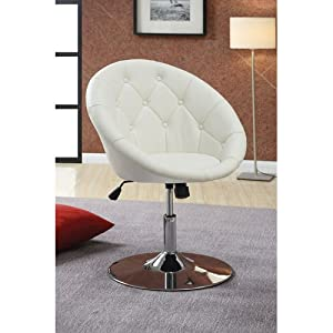 Amazon Com Coaster 102583 Round Back Swivel Chair White