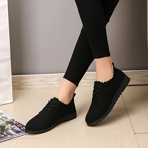 Amazon.com: Farjing Womens Shoes Fashion Ankle Flat Suede Casual Lace Up Shoes Short Boots: Clothing