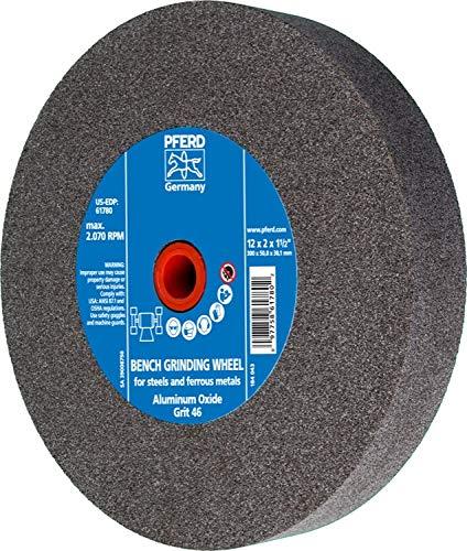 PFERD 61780 Bench Grinding Wheel, Aluminum Oxide, 12'' Diameter, 2'' Thick, 1-1/2'' Arbor Hole, 46 Grit, 2070 Maximum RPM