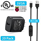 Raspberry Pi 3 Model B B+ Power Supply/Adapter/Charger w/ 1.5m Extra Long On Off Switch Micro USB Cable 5V 3A UL Certified Compatible w/ 2.5A 2A 1.5A 1A Fast Rapid Charge AC Adapter (20 Pack)