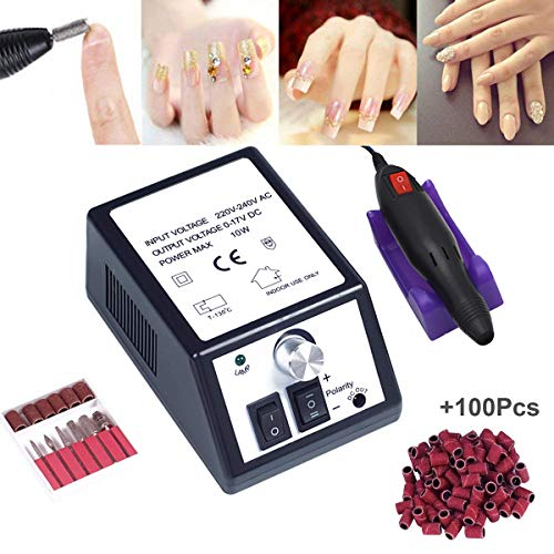 Electric Nail Drill,Professional Nail Drill for Acrylic Nails,Nail File Manicure Pedicure Kit for Gel Nail,Nail Art Polisher with 100pcs Sanding Bands,Low Heat Low Noise Low Vibration ()