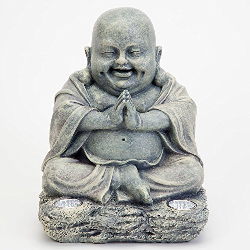 Bits and Pieces - Laughing Buddha Statue - Solar Outdoor Décor - Lucky Buddha - Weather-Resistent Light-Up Lawn and Garden Sculpture