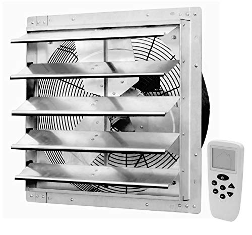 (iLiving 18 Inch Smart Remote Shutter Exhaust Fan with Thermostat, Humidistat, Variable Speed, Timer, Wall Mounted, 18)