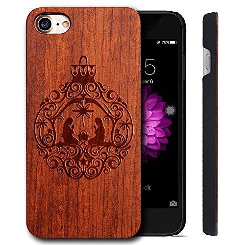 Funda Madera Tallada Protectora Cubierta para iPhone 7 Natural Wood Caja de PC Vintage Bumper Protector Carcasa para Apple iPhone 7 (4.7 inch) ROSE-Lovers
