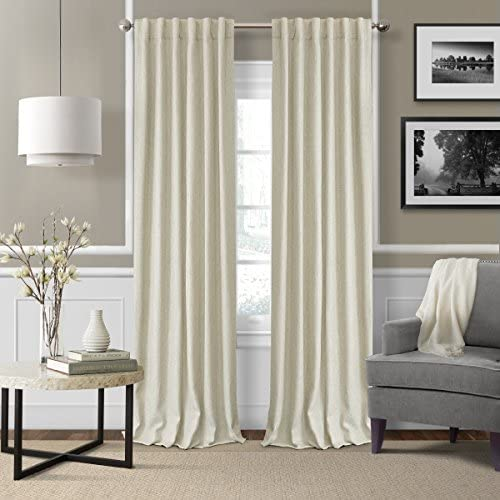 Elrene Home Fashions 26865900941 3-in-1 Blackout Energy Efficient Lined Linen Rod Pocket Window Curtain Drape Panel