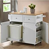 This storage-packed kitchen cart makes a wonderful addition to your home with its useful features. It has a spice rack with a push open door for easy access to ingredients for your favorite recipes. Crafted of solid rubber wood with a natural butcher...