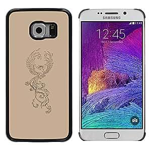 LASTONE PHONE CASE / Carcasa Funda Prima Delgada SLIM Casa Carcasa Funda Case Bandera Cover Armor Shell para Samsung Galaxy S6 EDGE SM-G925 / Drawing Art Tattoo Mythical Bird