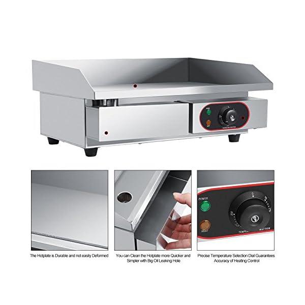 Piastra elettrica da bancone, in acciaio inox, griglia commerciale e professionale, per grigliare carne, bistecche… 4