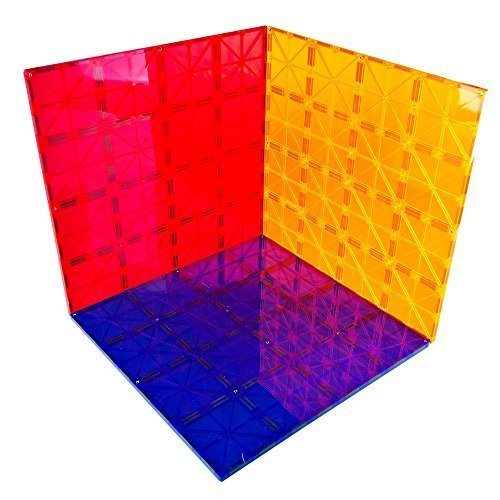 """Mag-genius Magnet Tiles Super Big Magnet Toy Building Toy Board Size of 16 Mag-Genius Magnet Tiles 3 Different Colors Stabilizer 12"""" X 12"""" Magnet Plates Compaible With Any Other Brand"""