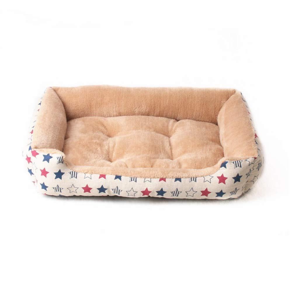 60x45x14cm WALSITK Kennel winter warmth thickening arctic cashmere pet nest Teddy golden Retriever small medium and large dog dog mattress apricot 60x45x14cm