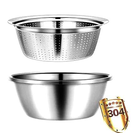 Un conjunto de tazón de fuente de acero inoxidable ensalada ...