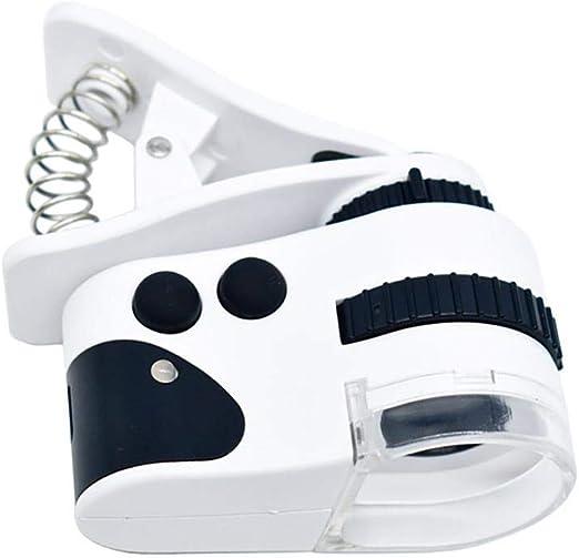 FOONEE 50x / 60x Zoom Microscopio Lupa Clip en Micro Lente con LED ...